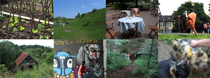 Photographs of some of the destinations of our exploratory journeys by the children and their parents/carers: St Werburgh's allotments, Narroways, St Andrew's park, Boiling Wells, graffiti tunnel, Oldbury Court, feeding the pigs at St Werburgh's City Farm