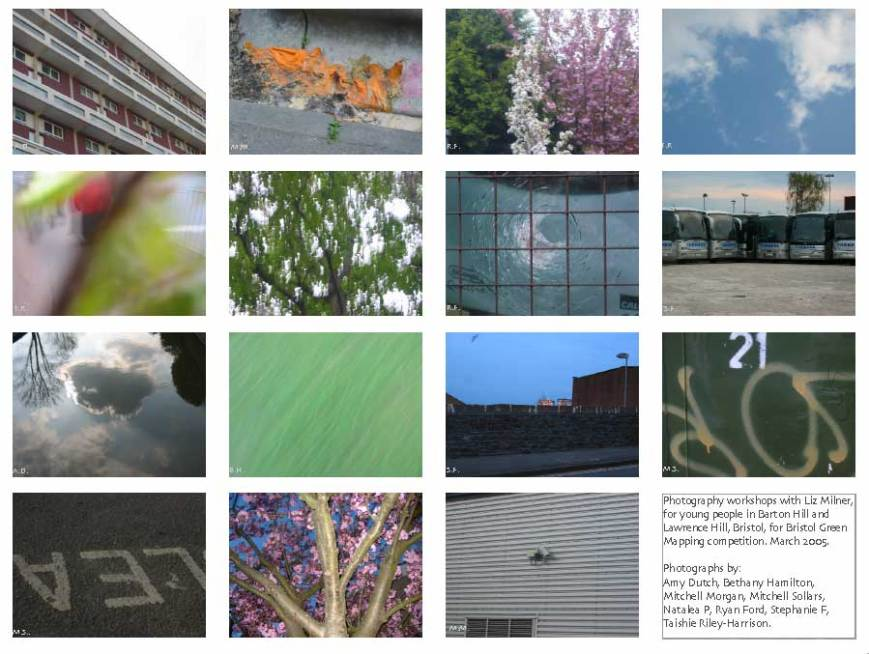 Photographs taken by young people from Barton Hill and Lawrence Hill, Bristol for the Green Mapping project