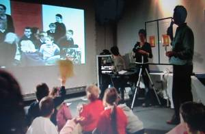 First live link for Electric December in 2003 between some schools at Watershed and children in Cornwall for the launch event.