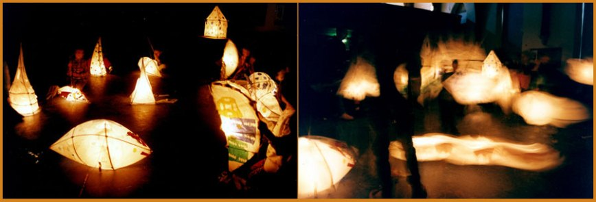 Lantern making workshop for local families in rural Somerset as part of the River Parrett Trail project