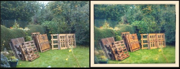 Google+ chose to Auto Enhance this prosaic shot of palettes stacked in the garden!