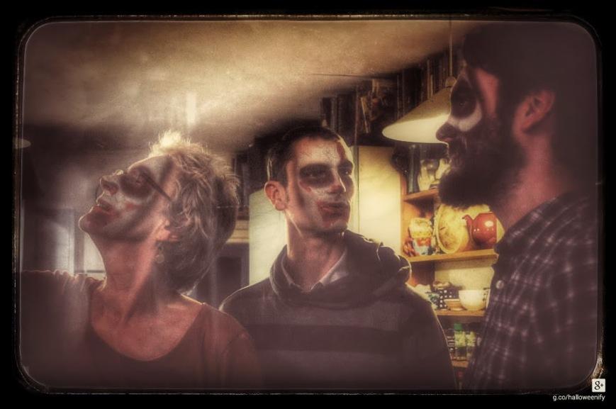 Tom WIll Liz in kitchen nov 2013-HALLOWEEN