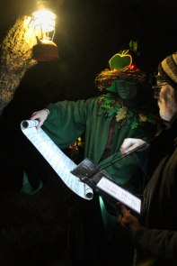 Wassail singing with the Green Man