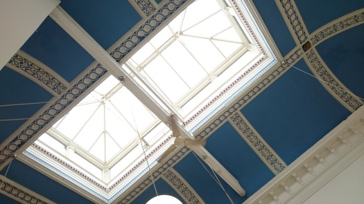 Ceiling of Blue Moon Cafe, once an auction house